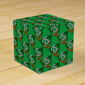 Celtic Knot in Green Orange and White Favour Box