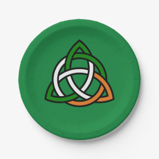 Celtic Knot in Green Orange and White Paper Plate