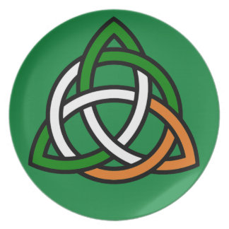 Celtic Knot in Green Orange and White Plate