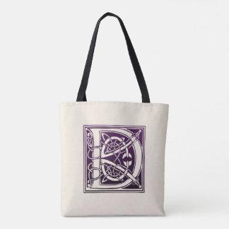 Celtic Knot Initial - D - Purple Tote Bag