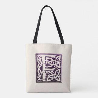 Celtic Knot Initial - F - Purple Tote Bag