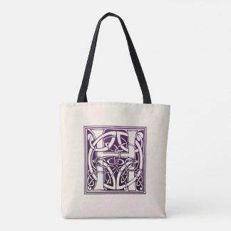 Celtic Knot Initial - H - Purple Tote Bag