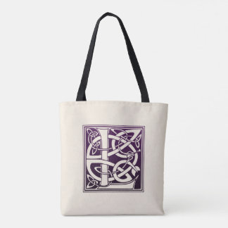 Celtic Knot Initial - L - Purple Tote Bag