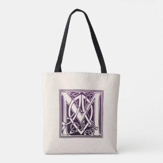 Celtic Knot Initial - M - Purple Tote Bag