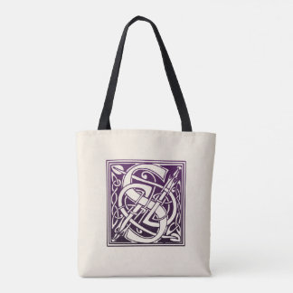 Celtic Knot Initial - S - Purple Tote Bag