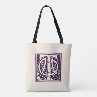 Celtic Knot Initial - T - Purple Tote Bag