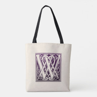 Celtic Knot Initial - W - Purple Tote Bag