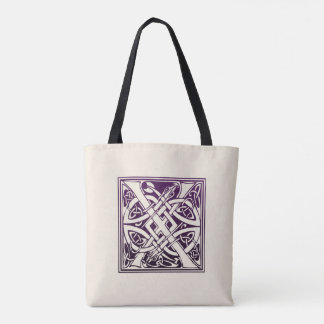 Celtic Knot Initial - X - Purple Tote Bag