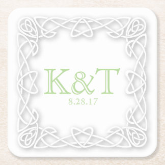 Celtic Knot Initials - Custom Coaters Square Paper Coaster
