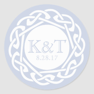 Celtic Knot Initials - Light Blue Classic Round Sticker