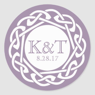 Celtic Knot Initials - Lilac Classic Round Sticker