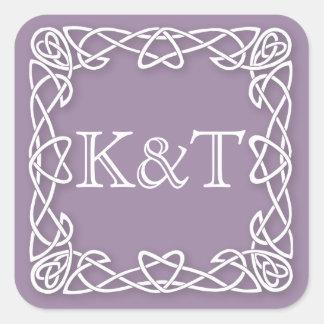 Celtic Knot Initials - Lilac Square Sticker
