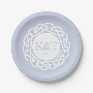 Celtic Knot Initials -  Wedding Plate Light Blue