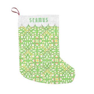 Celtic Knot Irish Braid Pattern Green Personalized Small Christmas Stocking