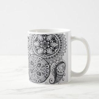 Celtic Knot Mandala Tangle Pattern Paisley Black Basic White Mug