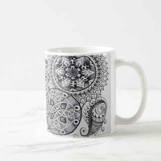Celtic Knot Mandala Tangle Pattern Paisley Black Coffee Mug