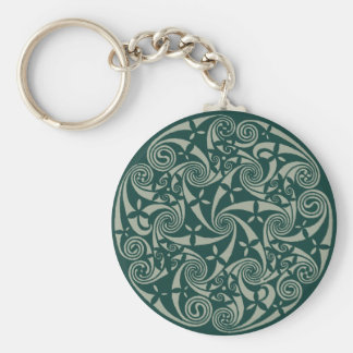 Celtic Knot Medallion Round Design, Irish Artwork Key Ring