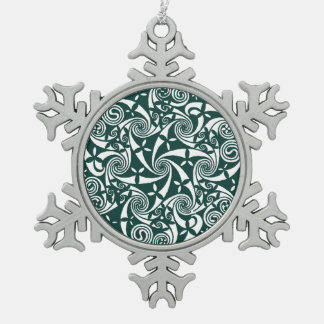 Celtic Knot Medallion Round Design, Irish Artwork Snowflake Pewter Christmas Ornament