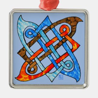 Celtic Knot of the Elements - Earth Air Fire Water Silver-Colored Square Decoration
