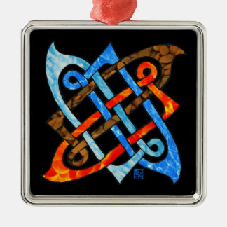Celtic Knot of the Elements-Earth,Air,Fire,Water Silver-Colored Square Decoration