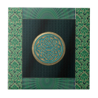 Celtic Knot on Black and Green Brocade Pattern Ceramic Tile
