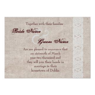 Celtic knot on rustic burlap irish traditional 13 cm x 18 cm invitation card