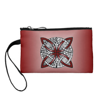 Celtic Knot Original Art Red Coin Purses
