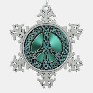 Celtic Knot Peace Sign Snowflake Ornament