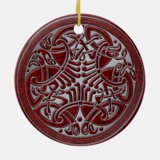 Celtic Knot Red Birds & Silver - Keepsake Ceramic Ornament