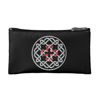 Celtic Knot Red Metallic Cosmetic Bag