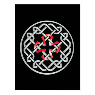 Celtic Knot Red Metallic Postcard