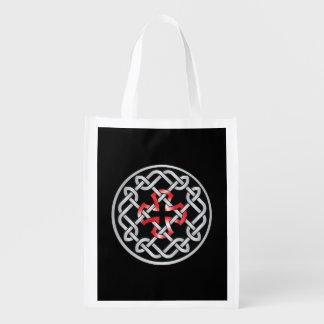 Celtic Knot Red Metallic Reusable Bag