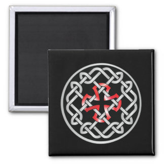 Celtic Knot Red Metallic Square Magnet