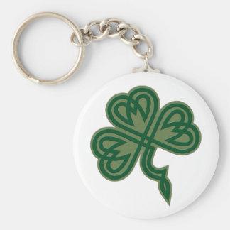 Celtic Knot Shamrock Basic Round Button Key Ring