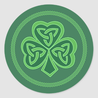 Celtic Knot Shamrock Classic Round Sticker