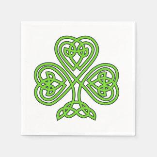 Celtic Knot Shamrock on White Disposable Serviette