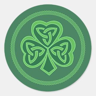 Celtic Knot Shamrock Round Sticker
