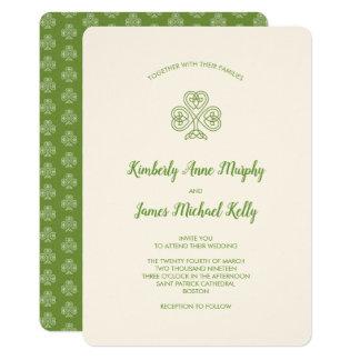 Celtic Knot Shamrock Wedding Ivory Card