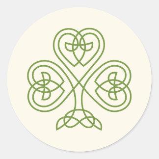 Celtic Knot Shamrock Wedding Ivory Classic Round Sticker