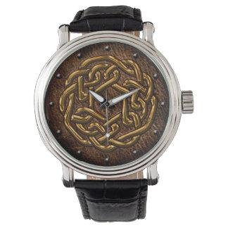 Celtic knot shiny golden on leather digital art watch