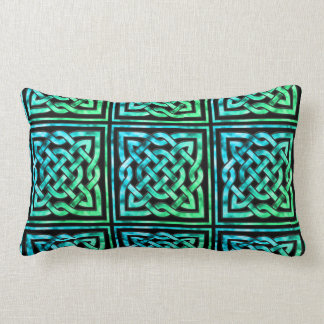 Celtic Knot - Square Blue Green Lumbar Cushion