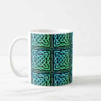 Celtic Knot - Square Blue Green Classic White Coffee Mug