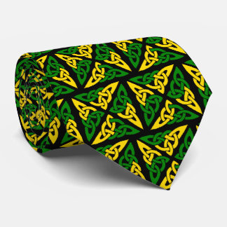 Celtic Knot Square Green and Yellow Tie