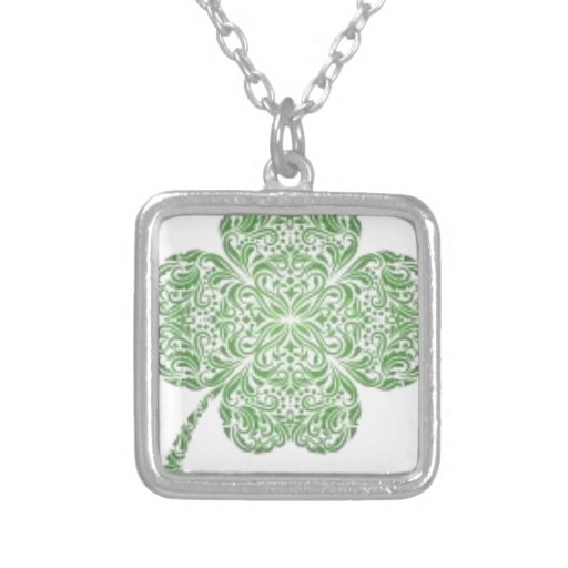 Celtic Knot Style Four Leaf Clover Design Necklace