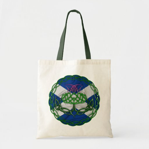 Celtic Knot Thistle And Flag Tote Bag