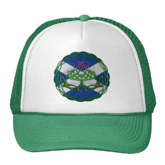 Celtic Knot Thistle And Flag Trucker Hat