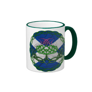 Celtic Knot Thistle And Flag Coffee Mugs