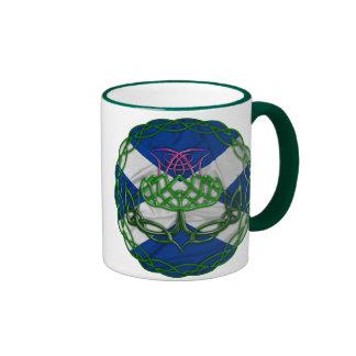 Celtic Knot Thistle And Flag Ringer Mug