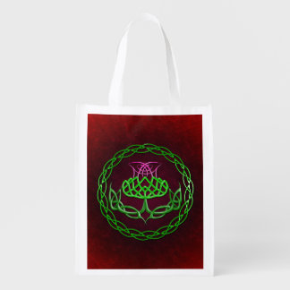 Celtic Knot Thistle Grocery Bag