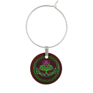 Celtic Knot Thistle Wine Charms